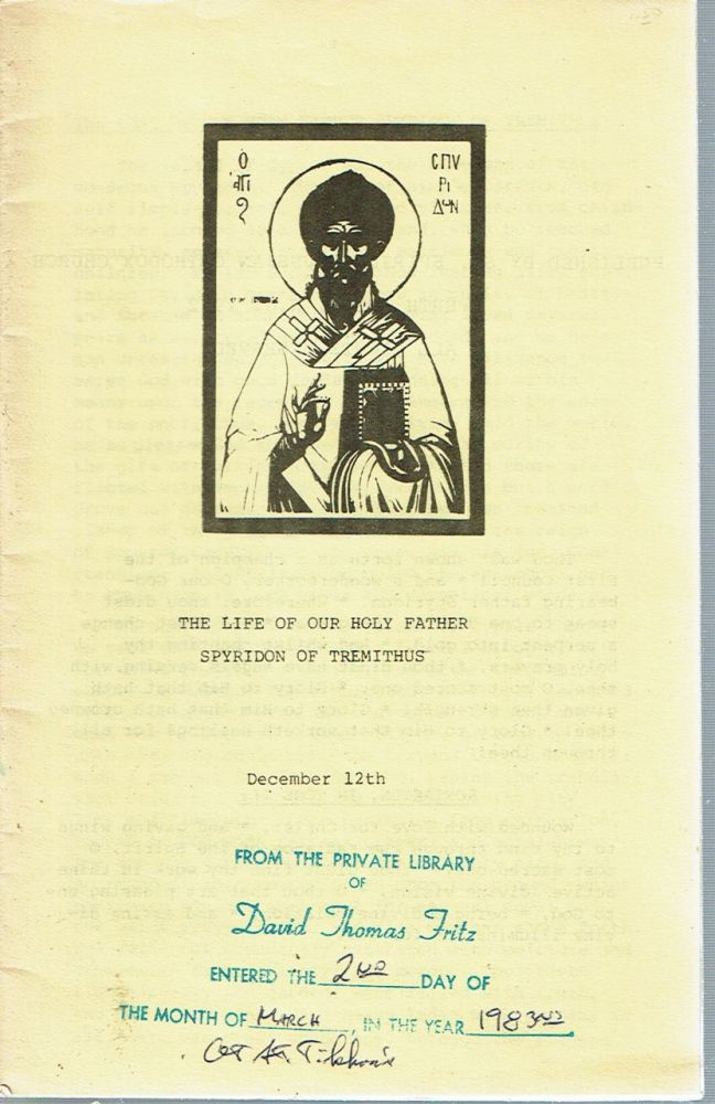 The Life of our Holy Father Spyridon of Tremithus (December 12/25). Isaac E. Lambertsen.