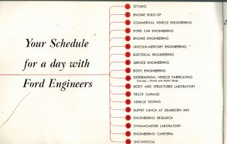 A Day With Ford Engineers : Guide for National Press Show January 10 1952