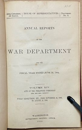 Annual Reports of the War Department for the Fiscal Year Ended 6/30, 1904 : Vol. XIV Acts of the Philippine Commission