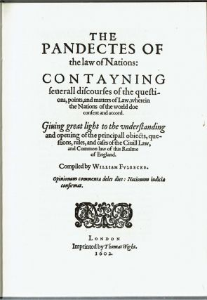 The Pandectes of the Law of Nations : London, 1602