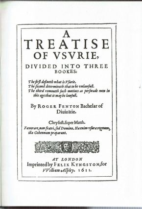 A Treatise of Usurie Divided Into Three Bookes : London 1611