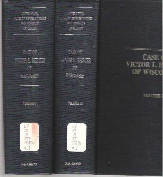 Case of Victor L Berger of Wisconsin : [2 volumes] Hearings before the Special Committee...